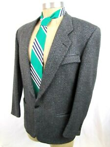 Vintage-1980s-GIVENCHY-40R-Charcoal-Gray-Flecked-Wool-Sport-Coat-Blazer-Leather