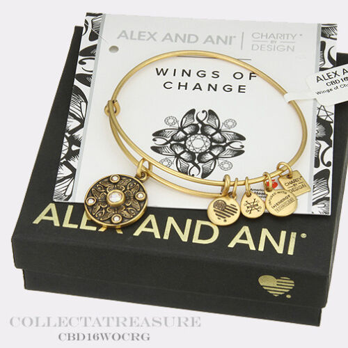 Authentic Alex and Ani Wings of Change Rafaelian Gold Charm Bangle CBD