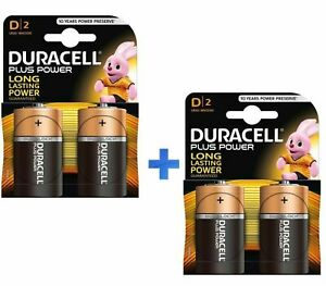 KIT 4 PEZZI (2X2) BATTERIE PILE ALCALINE DURACELL PLUS POWER LR20 TORCIA