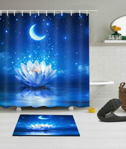 180//200CM Fabric Shower Curtain Panel Buddha Lotus Night Moon Decor Bath Mat Rug