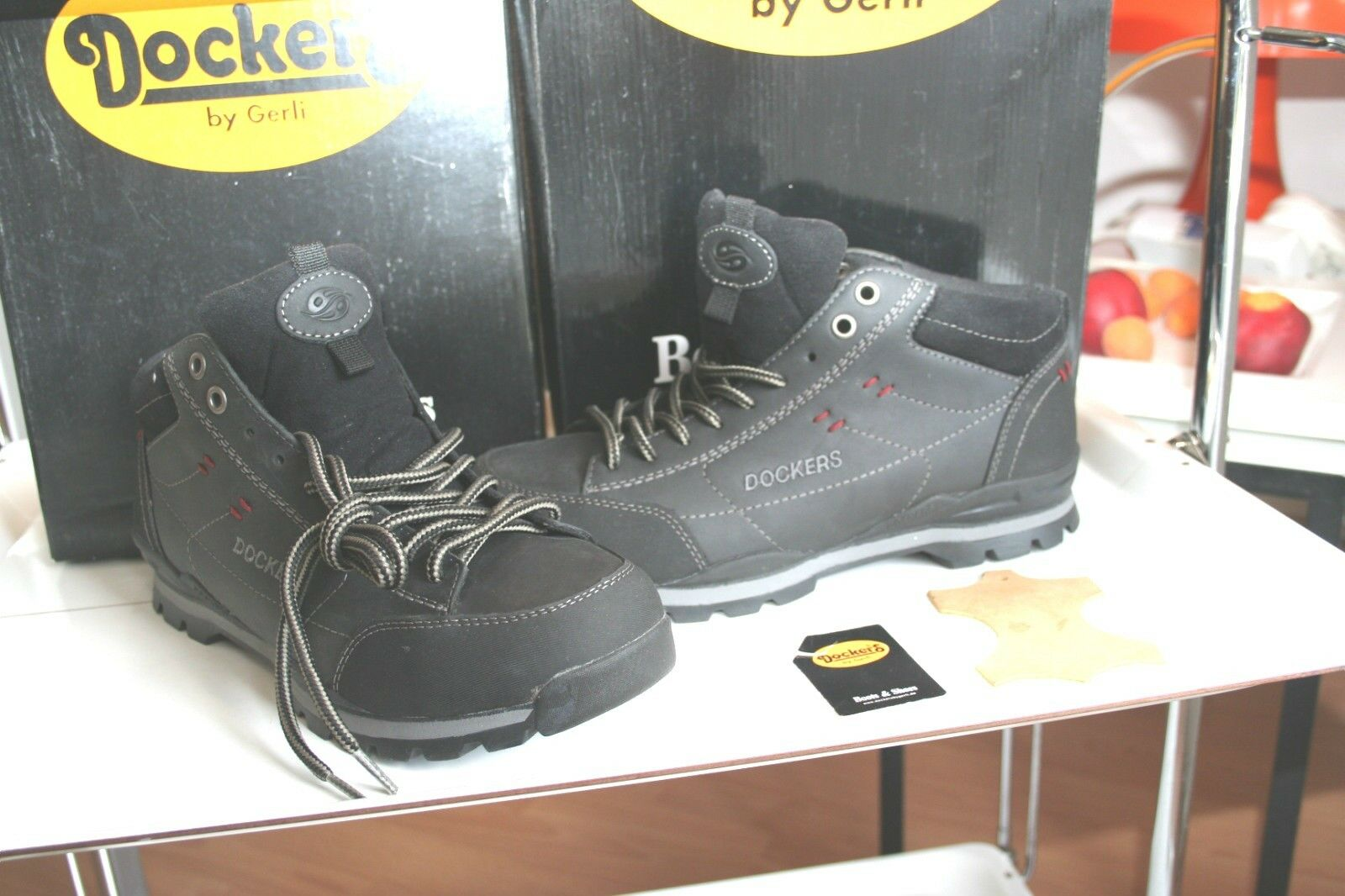 DOCKERS  Stiefel  Neu echtes Leder gefettet schwarz asfalt USEDSTYLE Gr 41