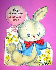 VINTAGE HALLMARK FLOCKED BUNNY HAPPY ANNIVERSARY AUNT UNCLE CARD USED VGC