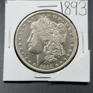 1893-P-1-Morgan-Silver-Dollar-Coin-VF-XF-Details-Cleaned-Nice-Looking-Coin
