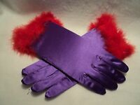 Red Hat Society purple Satin Gloves With Red Feather Trim