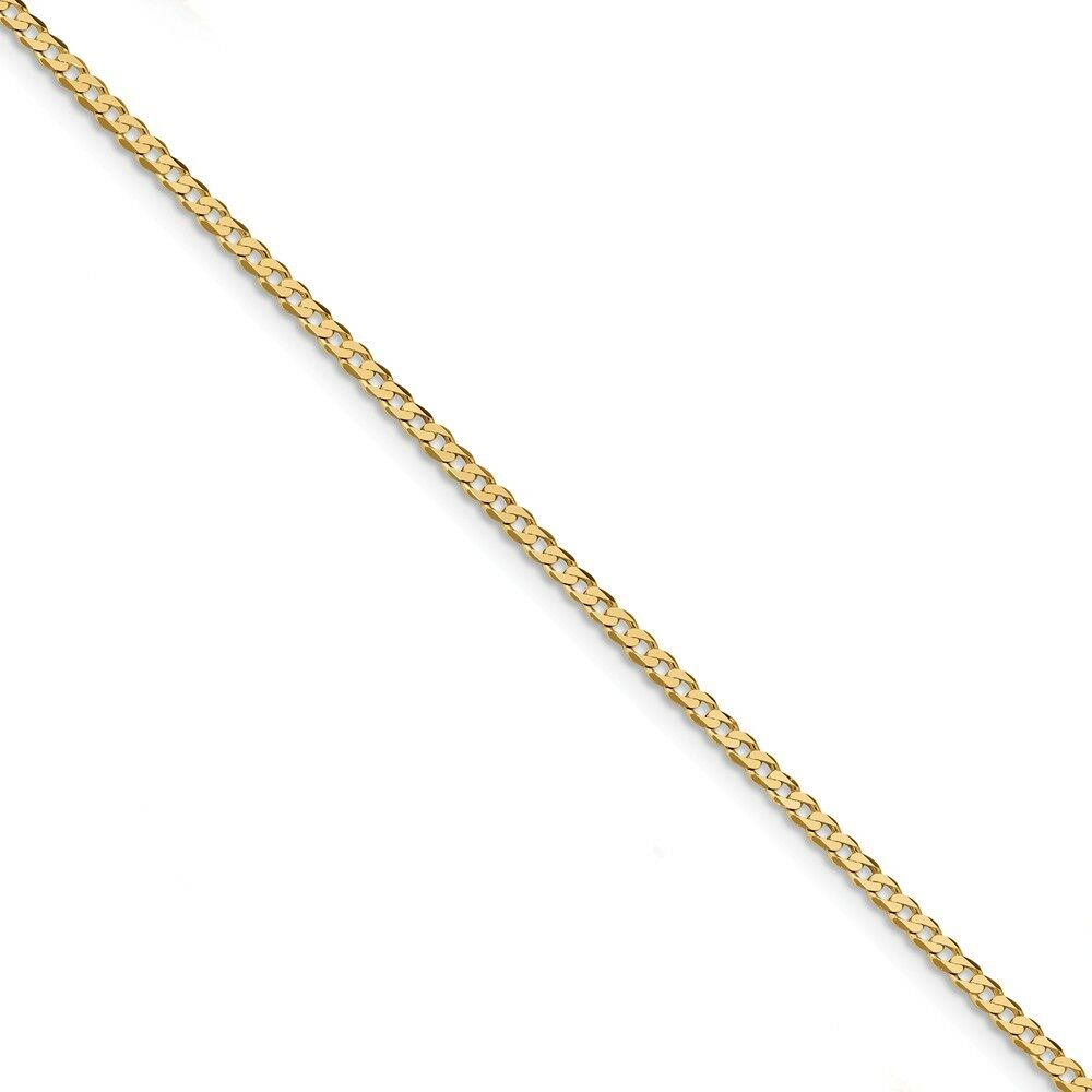 14kt Yellow gold 2.2mm Beveled Curb Chain; 7 inch
