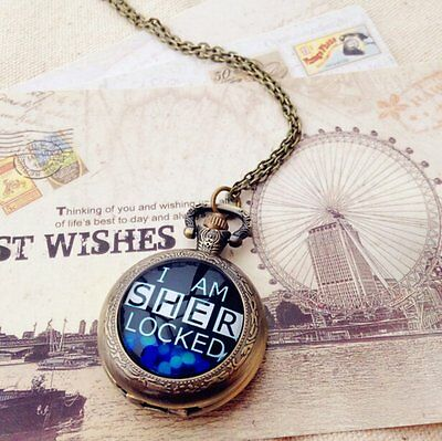Sherlock Holmes I Am Sherlocked Pocket Watch Quartz Watch Necklace