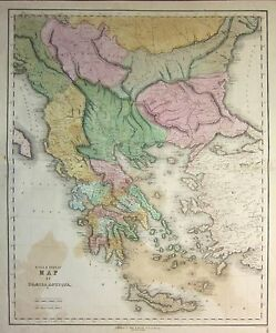 1850 LARGE HAND COLOURED MAP ~ GRAECIA ANTIQUA GREECE ~ MESSENIA MYYRTOUM