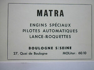 10-1960 PUB MATRA BOULOGNE SUR SEINE MISSILES ARMEMENT LANCE ROQUETTES FRENCH AD lTvxNNrw-09112745-764137058