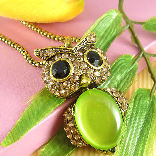 Wholesale Excellent Fashion Charm Jewelry Green Owl Crystal Necklace Pendant New