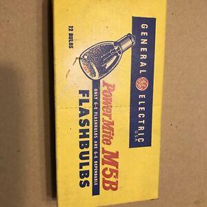 Vintage General Electric Box of 12 Blue Power Mite M5B Blue M5B Flashbulbs