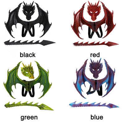 Dragon Mask Kids Halloween Dinosaurio Dragon Costume Fantasy Mask Wing Tail Suit
