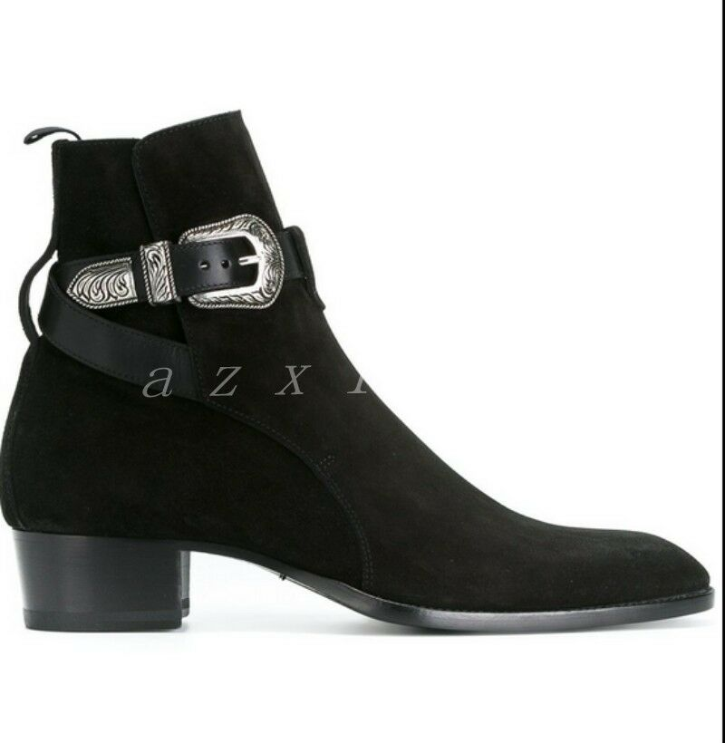 Men's Suede Buckle Round Toe Cross Straps Block Heel Ankle Ankle Ankle Boots Combat shoes 4c5aba