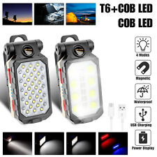 Cob Led Work Light Magnetic Usb Rechargeable Camping Lamp Flashlight With Hook