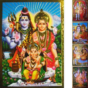 SHIVA-PARVATI-GANESHA-die-goettliche-Familie-Praegedruck-Altarbild-Schiwa-Parwati
