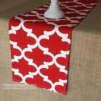 Red Table Runner Quatrefoil Moroccan Home Decor Linens Table Centerpiece Dining