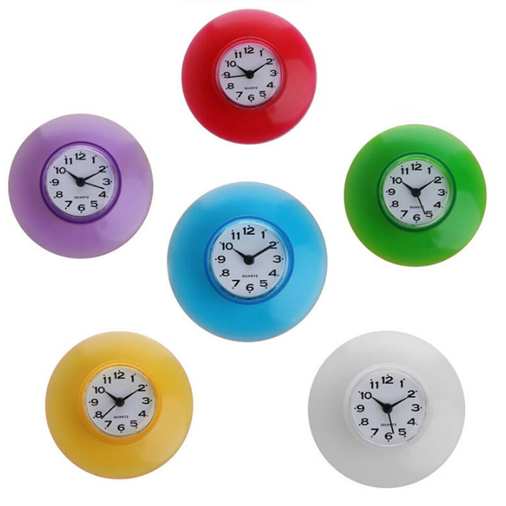 Perfect for Bathroom//Kitchen//Shower//Kids Bedroom Premium Water Resistant Colorful Decorative Clock Be Eden Silent Waterproof Wall Suction Cup Clock Amazing Gift for Guest