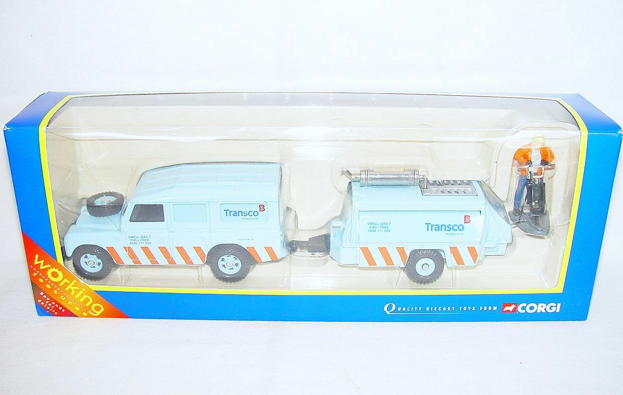 Corgi Toys Working 1 36 LAND ROVER LWB & COMPRESSOR WAGON TRANSCO Car Set MIB`03