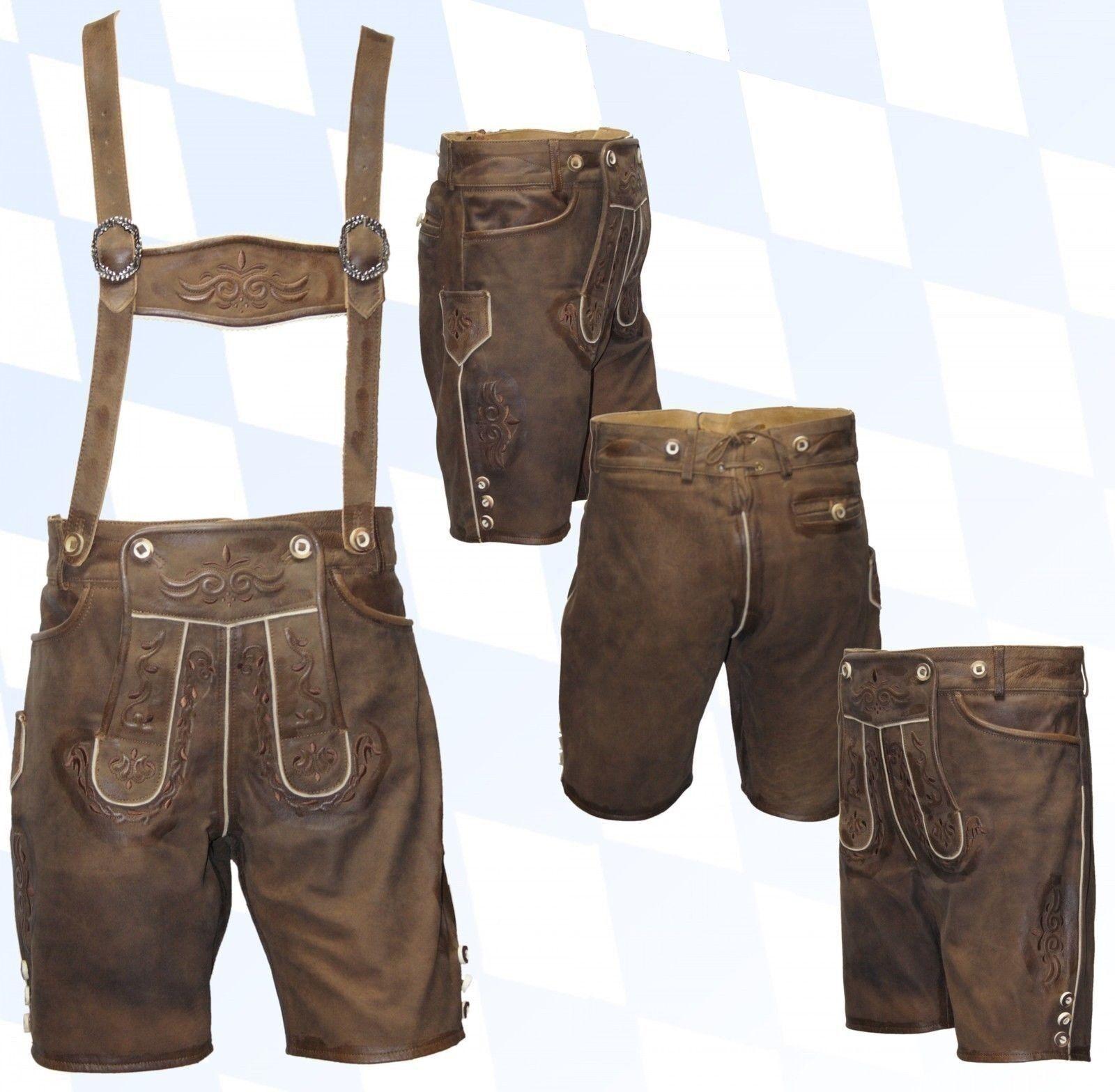 Kurze Trachtenlederhose + Träger Plattlerhose Lederhose im Used-Look | Bekannt für seine gute Qualität  | Verrückter Preis, Birmingham  | Tragen-wider  | Neuer Stil  | Günstig