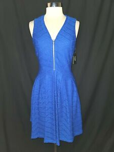 NEW GUESS Size 12 Dress Blue Textured Sleeveless Knee Length Stretch