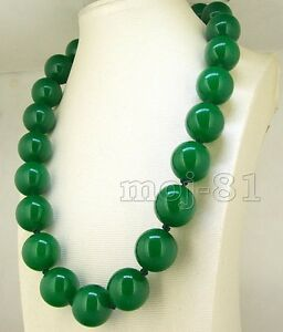 Handmade-8-10-12-14mm-Natural-Green-Jade-Round-Gemstone-Beads-Necklace-18-034-AAA