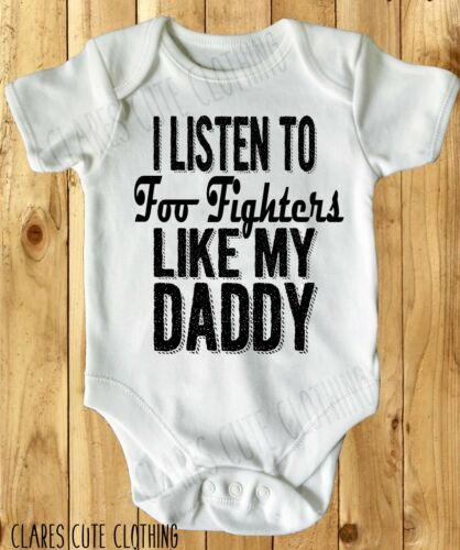 all sizes available I LISTEN TO FOO FIGHTERS BABY VEST// GROW WHITE
