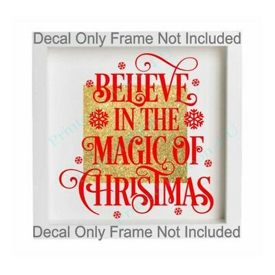 Christmas Vinyl Decals For Glass Blocks.Believe In The Magic Of Christmas Vinyl Decal Box Frame