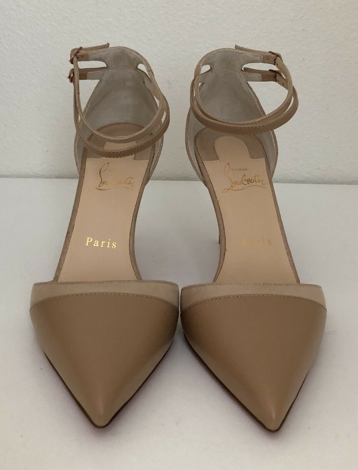 Christian Louboutin Louboutin Louboutin Uptown Double Nude Leather Pointed Toe Pump shoes 8.5   38.5 223aa4