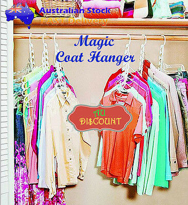 8x Space Saver Clothes Clothing Coat Magic Hanger Hooks Closet Organizer Storage
