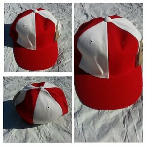 9439c57ab Details about Mens Womens Red White baseball Cap Hat Two Tone Red fitted  baseball cap 7 1/4