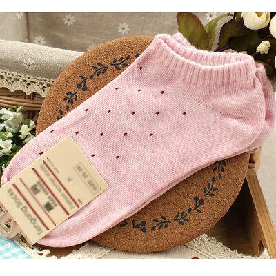 Women's Fresh Cute Polka Dot Socks Candy Colors Cotton Ankle Socks Soft Seasons