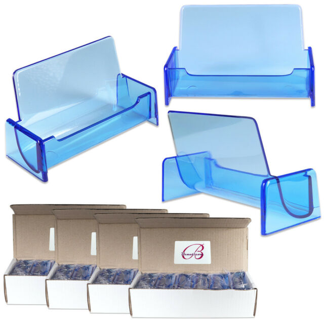 48pc HQ Acrylic Plastic Business Name Card Holder Display Stand (CLEAR BLUE)