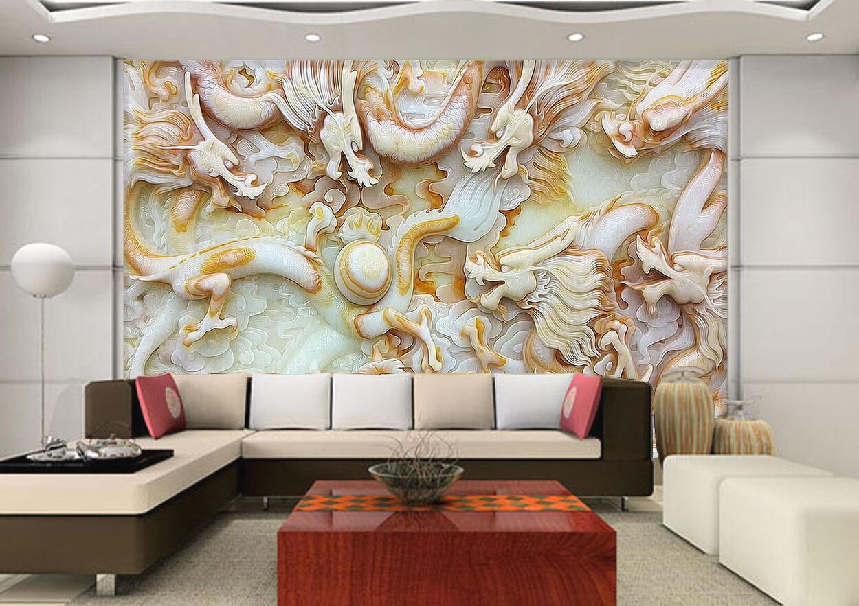3D Gravure Dragon 3 Photo Papier Peint en Autocollant Murale Plafond Chambre Art