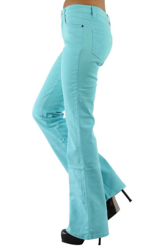 Women/'s Boot cut stretch Denim Jeans Flared Pants Turquoise UK 6-14