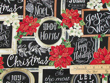 Christmas Morning Chalkboard Holiday Fabric  by the 1/2 Yard  CM4995