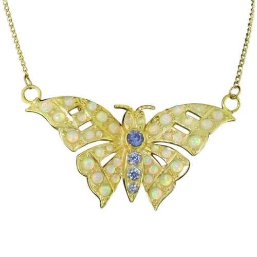 Details about  /Superb Faux Opal /& Synthetic Tanzanite Butterfly Pendant
