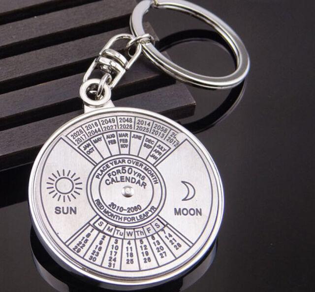 Unisex Unique Metal Perpetual Calendar Keyring Keychain Key Chain Ring 50 Years