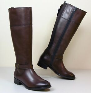 Riding Heel Brown Leather Low Style Boots Long ~ M amp;s 4 Size Real Ew7IxqIRY