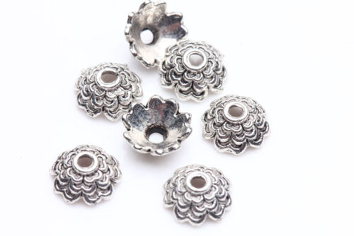 100Pcs Tibet Silver Flower Loose Spacer Bead Caps DIY Jewelry Findings Acc 1.1mm