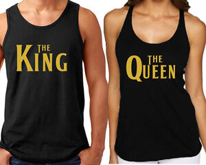 6b947d93792702 THE King THE Queen TANK TOP GOLD Logo 80 s FONT Matching Couple Tank ...