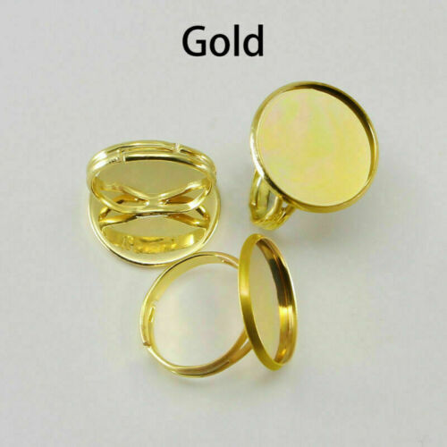 10pcs Adjustable Ring Blank Base DIY for 10-25 mm Glass Cabochon Jewelry Making