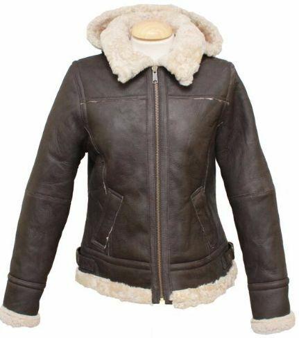 New Sheepskin Aviator Ladies Leather Coat - Jessie - Brown Nappa - Size 8-18