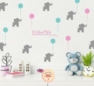 Elefante-Guarderia-Ninos-Chicos-Chicas-Nombre-Personalizado-Pared-Calcomania-Vinilo-Pared-Adhesivo