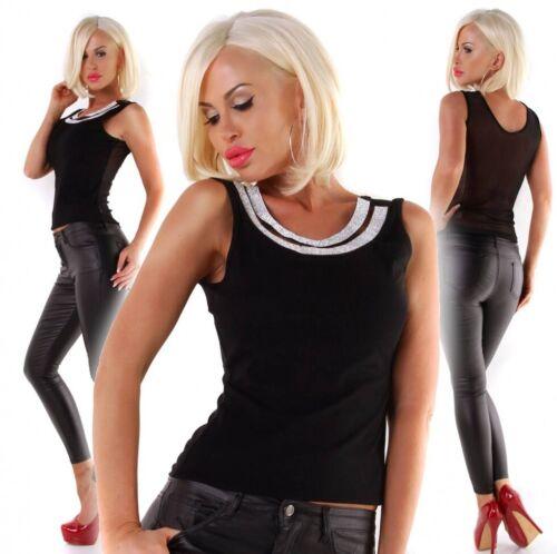 Damen Party Träger Top festlich Shirt Glitzer Glamourös Strass 34 36 38 schwarz