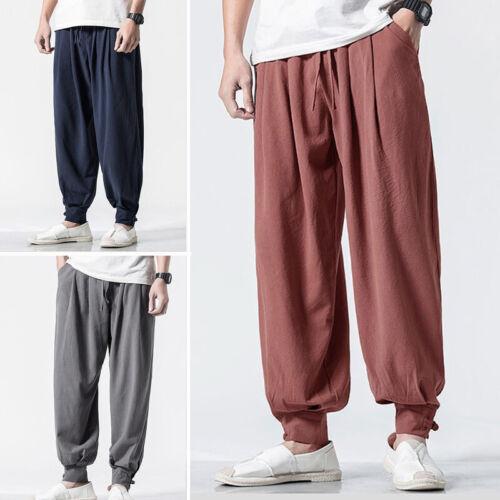 Men/'s Japanese Style Casual Loose Pants Elastic Waist Harem Baggy Long Trousers