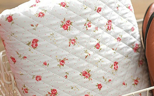 Mini Dot Rose White Ready Quilted Fabric Floral cotton Pre-quilted padded JQ24