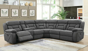 Terrific Details About Gray Faux Suede Usb Three 3 Power Reclining Sofa Sectional Furniture Ibusinesslaw Wood Chair Design Ideas Ibusinesslaworg