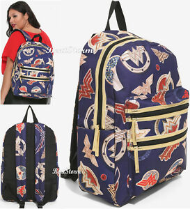 Details About Dc Comics Wonder Woman School Backpack Camp Book Bag Front Double Zipper Nwt