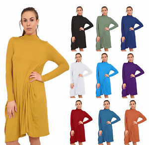 Women-039-s-Ladies-Girls-Long-Sleeve-Drape-LagenLook-Loose-Baggy-Gress-8-26