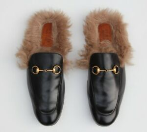 9300c982d Image is loading Gucci-Princetown-Black-Horsebit-Leather-Fur-Slippers-Mule-