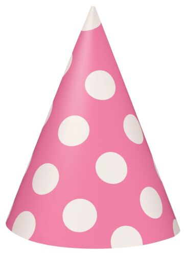 Hot Pink and White Polka Dot Cone Party HatsFavour 1-48pk